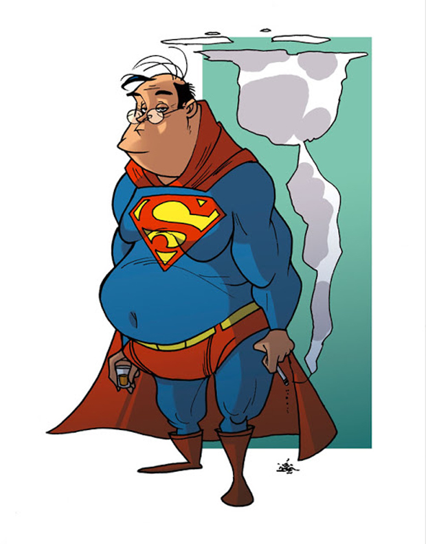 superman-decadence-Donald-Soffritti-Super Heroes Looks In Their Old Age