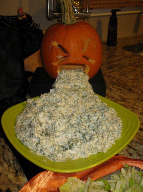 A pumpkin vomits its meal