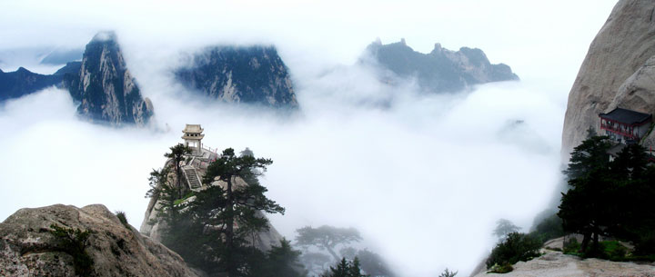 Climb The Steep Cliff of Mount Hua Using Only The Dangerous Wooden Planks