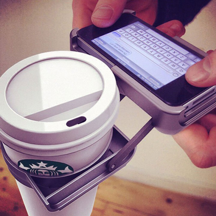 The iPhone cover that fits a coffee cup for ease of use-Irrestible iPhone Cover Designs