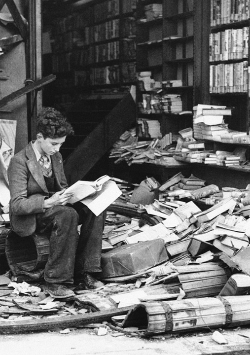 A bombed bookstore during an air raid in London in 1940