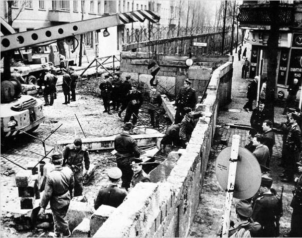 The construction of the Berlin Wall in 1961