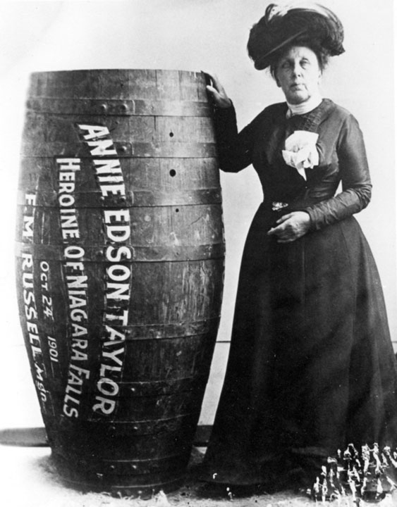 Annie Edison Taylor, the first person to survive the descent of Niagara Falls inside a barrel in 1901
