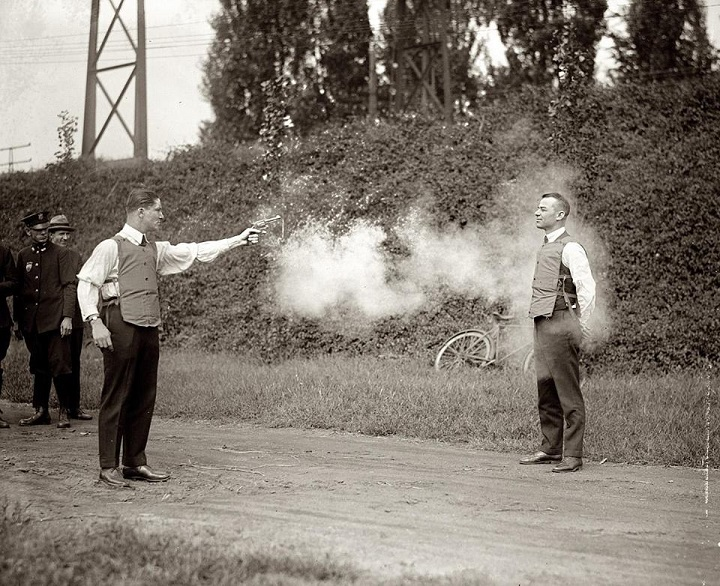 Testing new bullet proof vests in 1923
