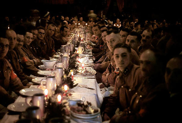 26. The officer and cadet Nazis celebrate Christmas in 1941