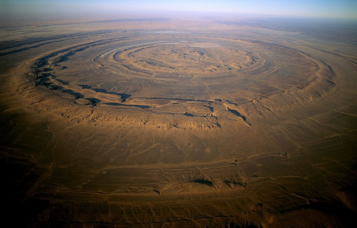 """Eye of Africa"" located in the middle of the Sahara Desert in Mauritania"