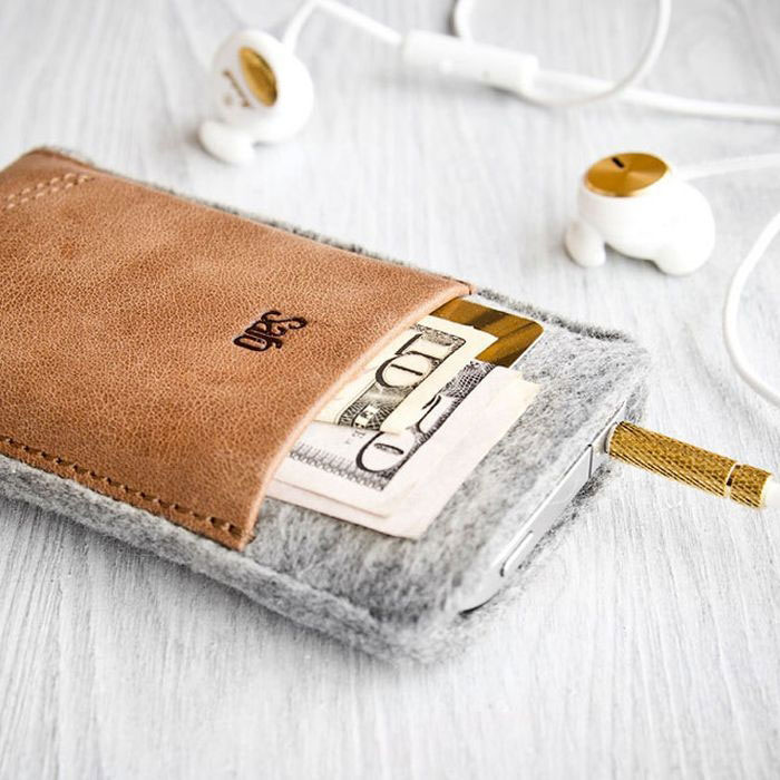 Leather and fur cover (with gold earphones optional)-Irrestible iPhone Cover Designs