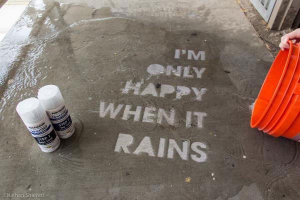 Hydrophobic Liquids Used To Create Artworks Only Visible In Rain