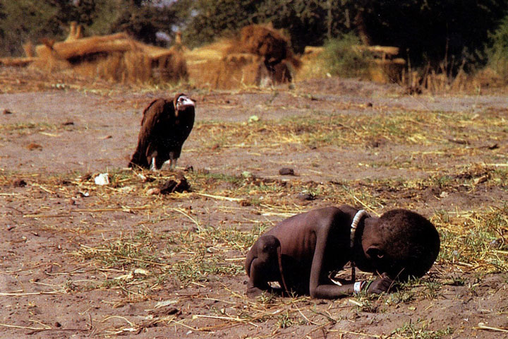 A vulture waiting the death of a Sudanese girl by hunger
