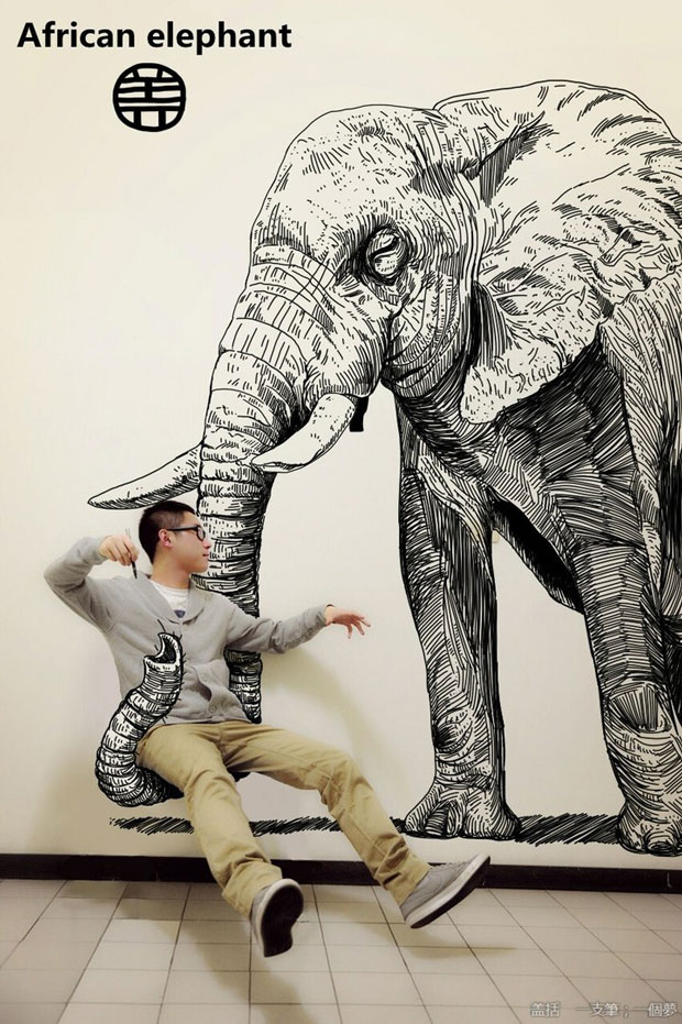 African Elephant-Gaikuo-Captain-An Artist Gives Life To His Drawings In A Unique Way -2