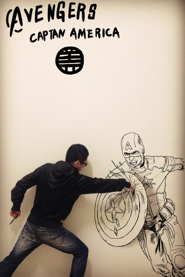 Avenger Captain America-Gaikuo-Captain-An Artist Gives Life To His Drawings In A Unique Way -9