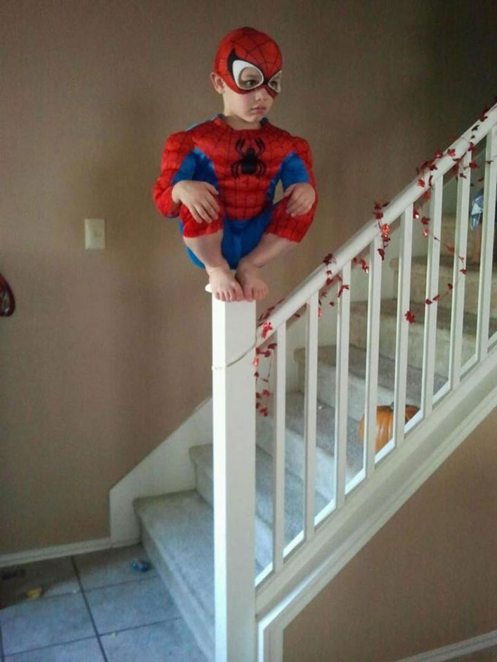 This little boy who takes his Spider-Man costume seriously-Children Who Use Their Imagination To Do Weird And Hilarious Things-14