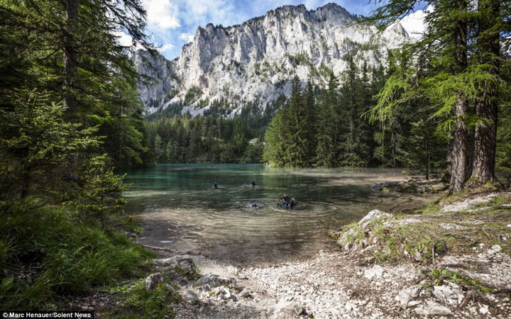 Grüner See-Snowmelt Swallows A beautiful park In The Heart Of The Mountains Each Year