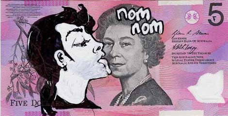 An Artist Makes Hilarious Caricatures Of Queen of England On Australian Dollar -2