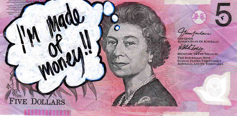 An Artist Makes Hilarious Caricatures Of Queen of England On Australian Dollar -8