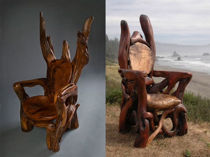 "Assortment of chairs and ""Thrones""-Jeffro makes impressive sculptures made only with wood-24"