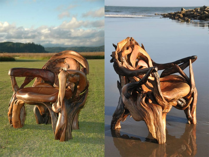 "Assortment of chairs and ""Thrones""-Jeffro makes impressive sculptures made only with wood-25"