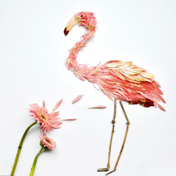 Beautiful Multicolored Birds Made From Hundreds Of Flower Petals-1