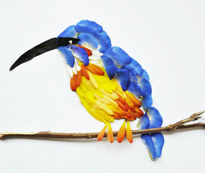 Beautiful Multicolored Birds Made From Hundreds Of Flower Petals-3