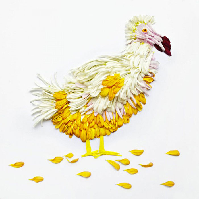 Beautiful Multicolored Birds Made From Hundreds Of Flower Petals-8