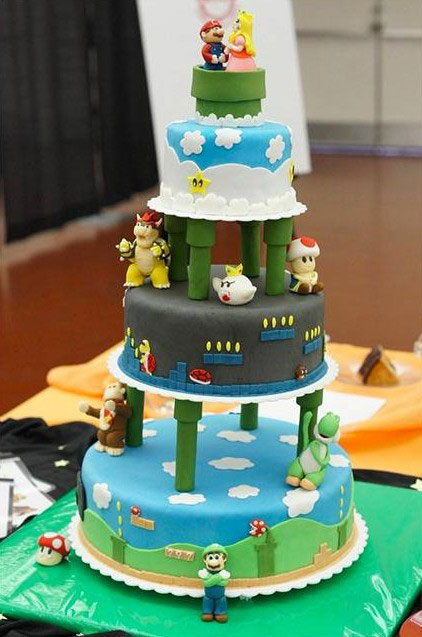 This time Mario is accompanied by his princess-Original Cake Designs For The Passionate Of Geek Culture -10