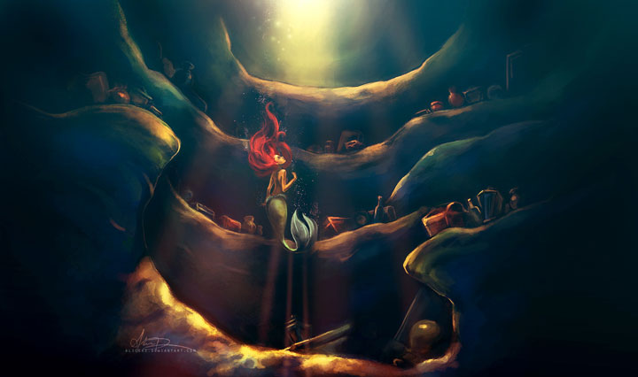 The Little Mermaid-Alice X. Zhang Beautiful Paintings Of The Scenes From Famous Cult Films-10