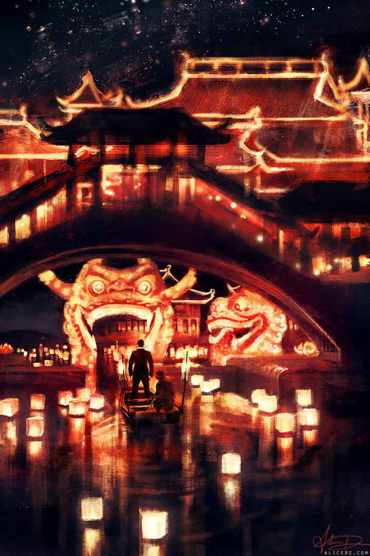 Skyfall-Alice X. Zhang Beautiful Paintings Of The Scenes From Famous Cult Films-6