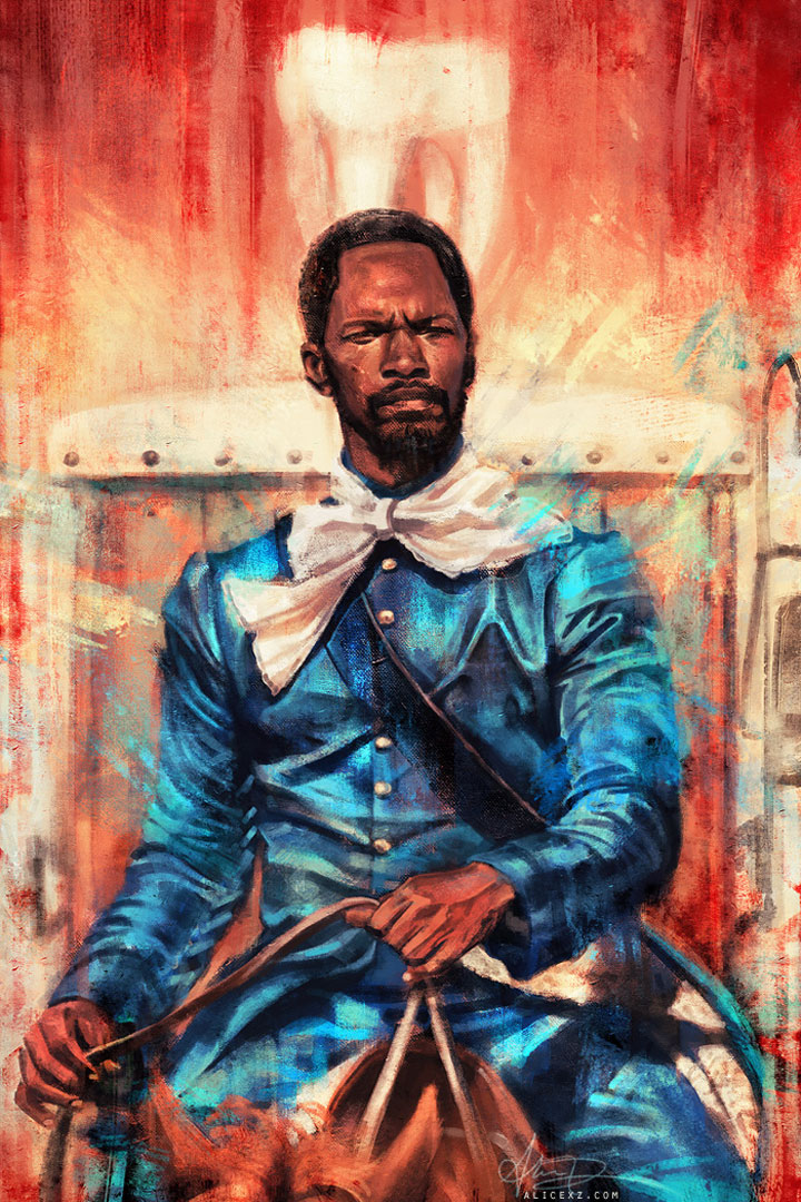 Django Unchained-Alice X. Zhang Beautiful Paintings Of The Scenes From Famous Cult Films-7