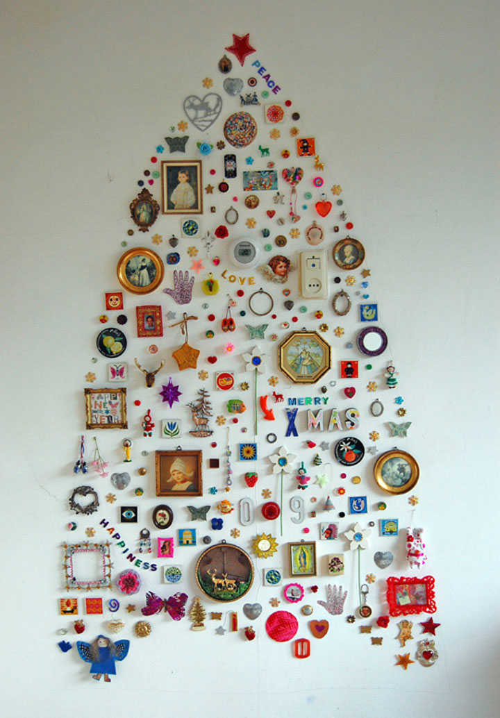 The tree ornaments stuck to the wall-Most Wacky And Non-Traditional Christmas Trees -7