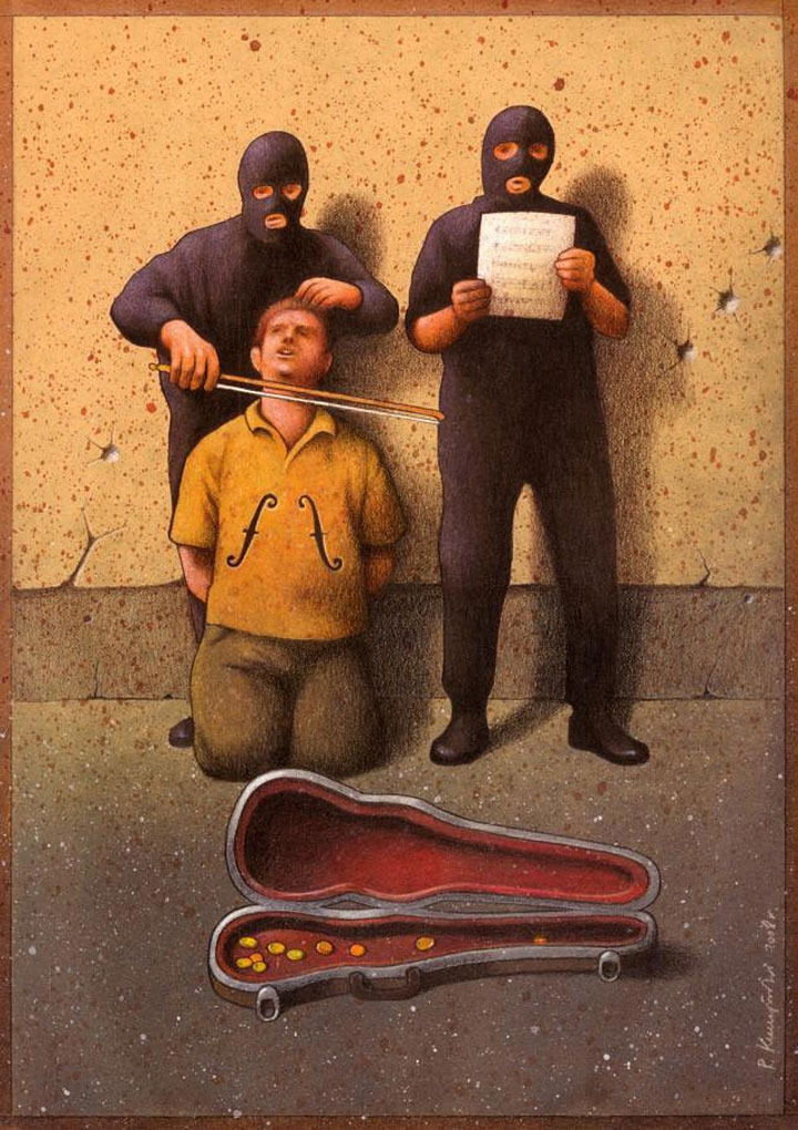 Pawel Kuczynksi satirical illustrations denounce the horrors and paradoxes of the modern world-8