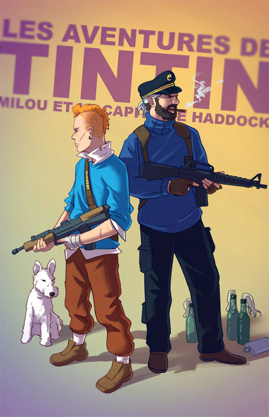 Tintin, Haddock and Snowy the captain-Sylvain redraws your childhood super heroes to reveal their dark side-12