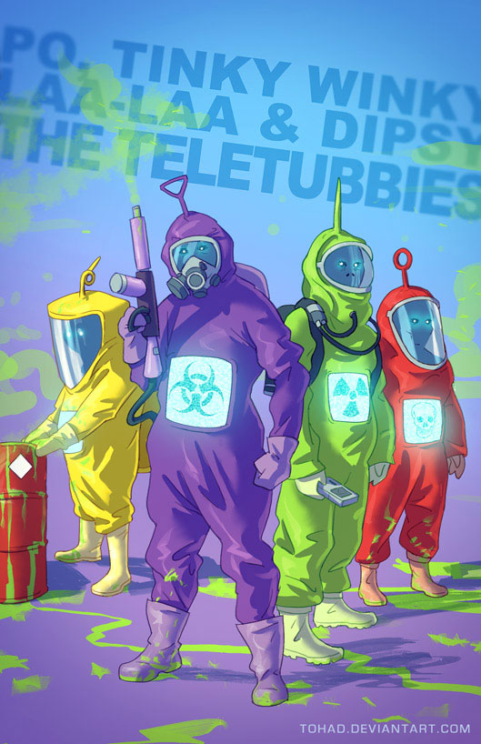 The Teletubbies-Sylvain redraws your childhood super heroes to reveal their dark side-9
