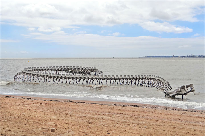 A Giant Aluminium Made Skeleton Of Serpent On the Beach of Loire, France-12
