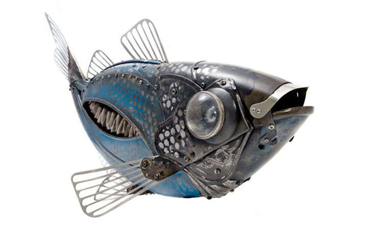 Fish-Marvelous Metallic Animal Sculptures Made Using Everyday Objects -1