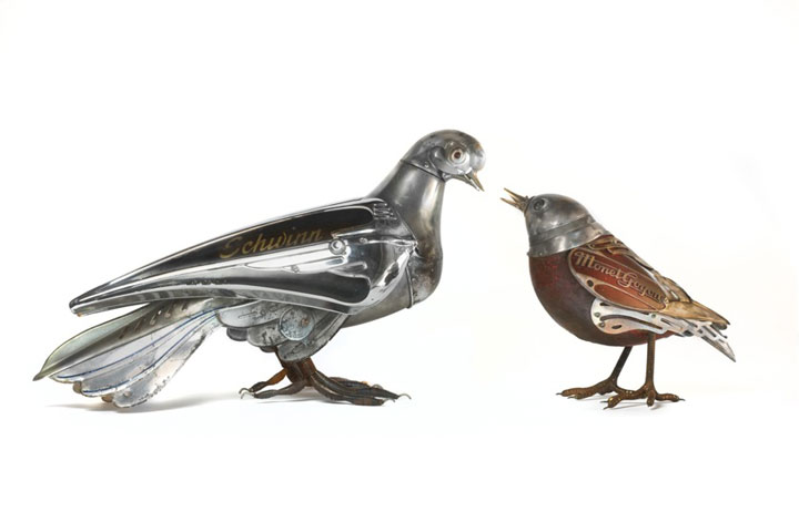 Birds-Marvelous Metallic Animal Sculptures Made Using Everyday Objects -12