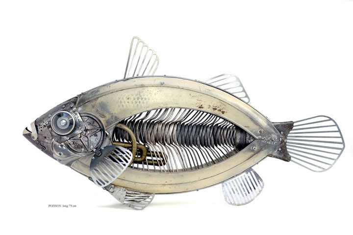 Fish-Marvelous Metallic Animal Sculptures Made Using Everyday Objects -2