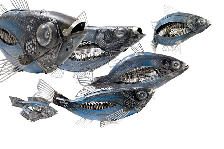 Fish-Marvelous Metallic Animal Sculptures Made Using Everyday Objects -3