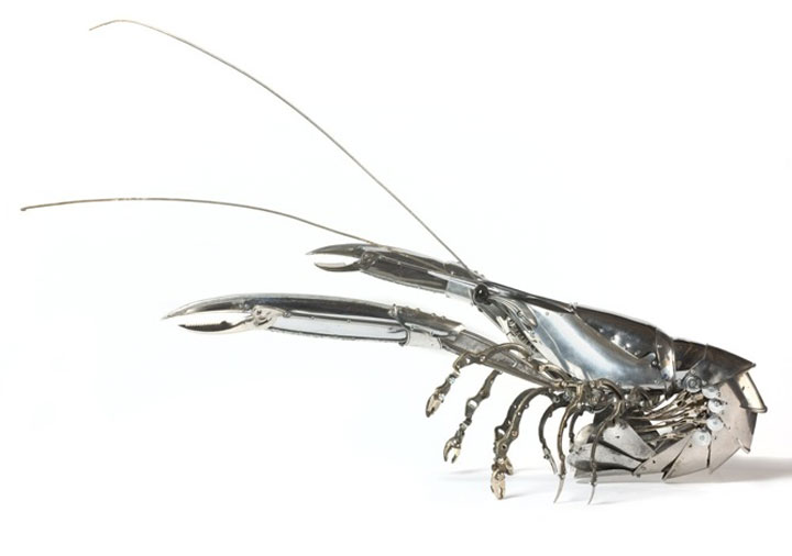 Crayfish-Marvelous Metallic Animal Sculptures Made Using Everyday Objects -7