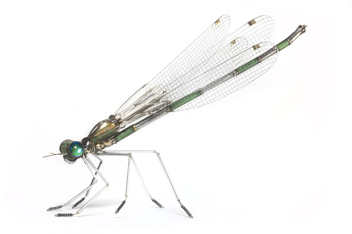 Insects-Marvelous Metallic Animal Sculptures Made Using Everyday Objects -8