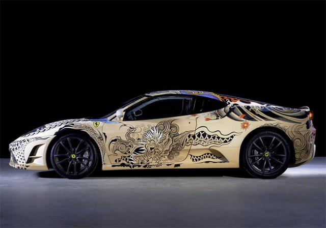See The Shining Colours Of Beautiful Tattooed Ferrari -