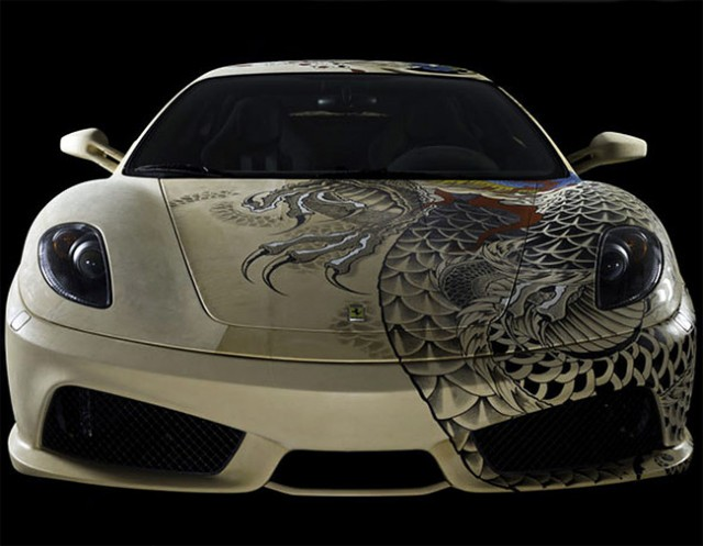 See The Shining Colours Of Beautiful Tattooed Ferrari -9