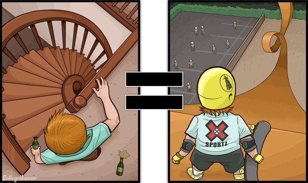 Tony hawk challenge-Series Of Hilarious Illustrations Shows How Alcohol Impairs Your Judgment-3