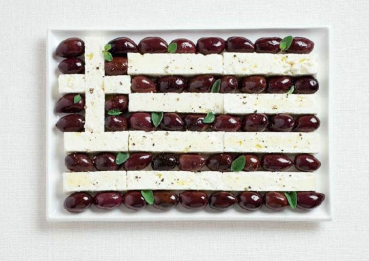 Greece-18 Appetizing National Flags Made Using Their Delicious Food Dishes-1