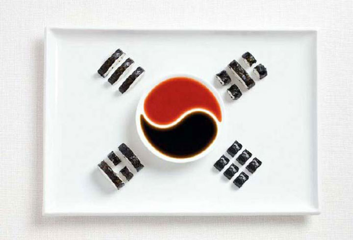 South Korea-18 Appetizing National Flags Made Using Their Delicious Food Dishes-5