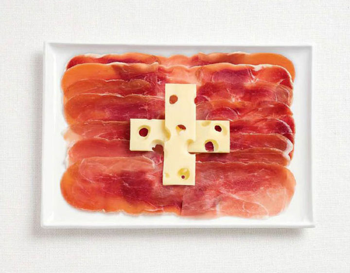 Switzerland-18 Appetizing National Flags Made Using Their Delicious Food Dishes-8