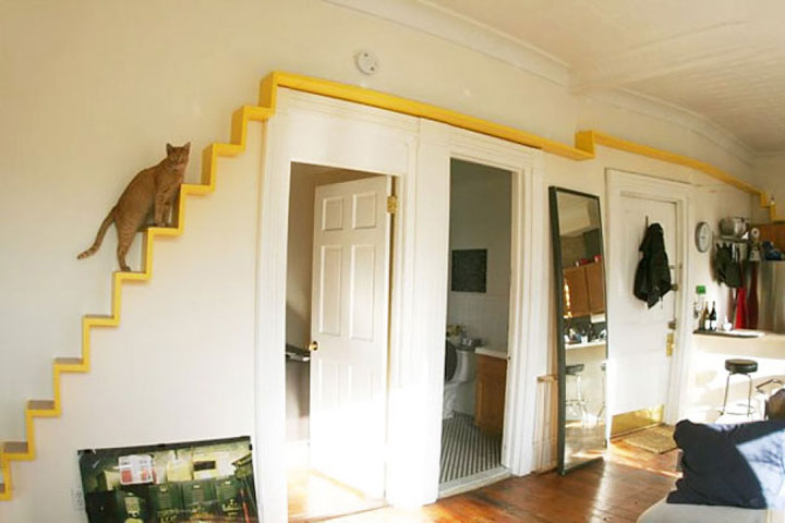 A staircase for the cats-Furniture Designs To Make Your Apartment An Animal paradise-15