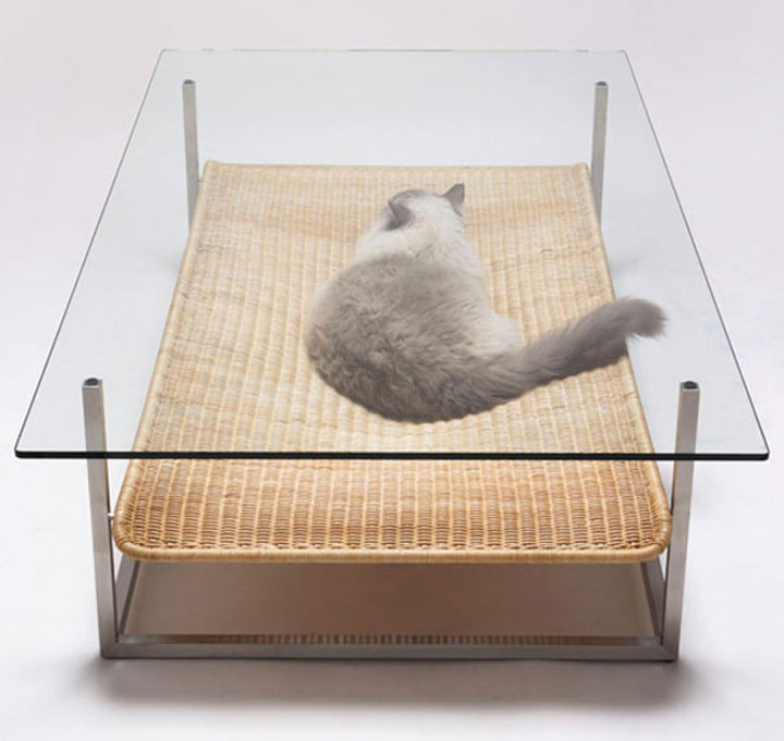A Coffee table with cozy cat nest-Furniture Designs To Make Your Apartment An Animal paradise-20