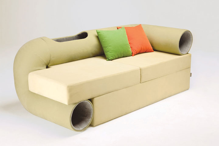 The tunnel sofa for cat -Furniture Designs To Make Your Apartment An Animal paradise-8