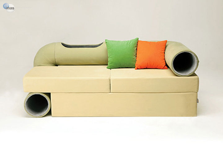 The tunnel sofa for cat -Furniture Designs To Make Your Apartment An Animal paradise-9
