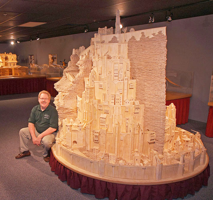Minas Tirith (Lord of the Rings)-Gigantic Sculptures Made Using Simple Matchsticks-